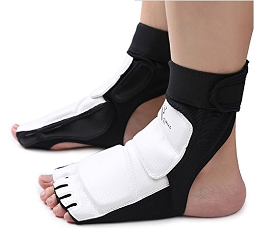 Wonzone Taekwondo Boxing Foot Protector Gear Martial Arts Training Sparring Gear Muay Thai Kung Fu Tae Kwon Do Feet Protector TKD Foot Gear Support for Men Women Kids (White, Medium)