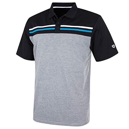 Island Green Mens Golf Laid on Stripe Flexible Breathable Polo Shirt Top BlackCarbon Black XL