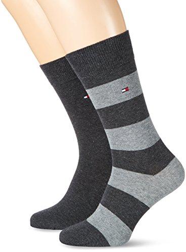 Tommy Hilfiger Herren TH MEN RUGBY 2P Socken, Grau (Anthracite 201), 39-42 (2er Pack)