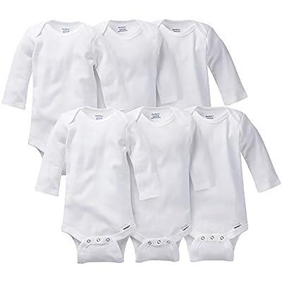Gerber Baby 3-Pack or 6-Pack Long-Sleeve Onesies Bodysuit, 6-Pk White, 12 Months
