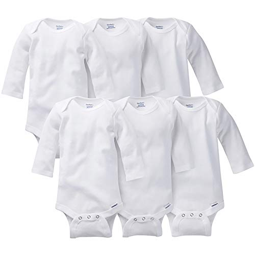 Gerber Baby Multi-Pack Long-Sleeve Onesies Bodysuit, 6-Pack White, 3-6 Months