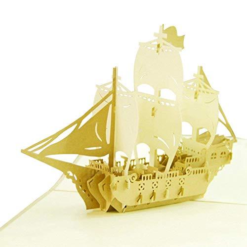 MoreLucky Vintage Saillng 3D Pop Up Vatertagskarten Best Wishes Handmade Karte für Geburtstag passender Umschlag Laser Cut Grußkarte (1 Stück)