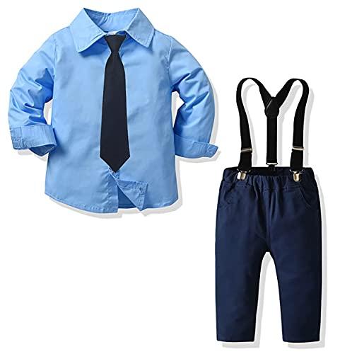 Yokald Ropa Bebe Conjunto Niño Traje de Vestir Conjuntos de Otoño e Invierno Camisa de Manga Larga Pantalón + Pajarita Tirantes Ropa Niño Caballero 6 Meses a 6 años (12-18 meses, Tie_Azul)