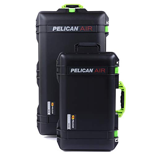 Black & Lime Green Combo Package of Pelican 1615 & 1535 Cases. Both are Empty, with Wheels.