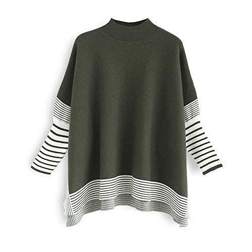 Chicwish Women's Olive Green Striped Oversize Soft Knit Cape Sweater Pullover