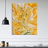 KWzEQ Pintura de Flores Amarillas sobre Lienzo impresión Sala de Estar decoración del hogar Moderno Arte de la Pared Pintura al óleo póster,Pintura sin Marco,50x60cm