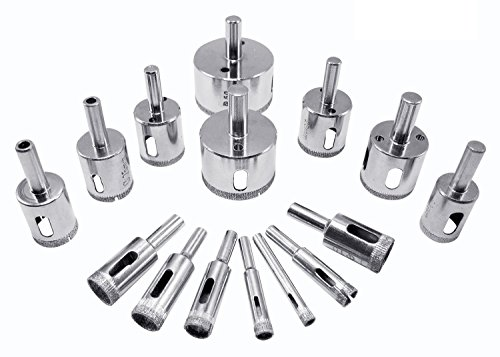 oxoxo 15pcs Diamond Grit Hole Saw Bit Drill,Juego de Designed for Cutting Ceramic Tile Marble Glass Porcelain and Most Hard Surfaces
