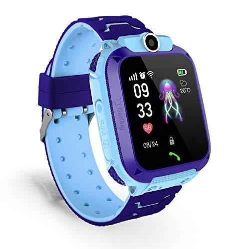 Reloj inteligente digital para niños LPS localización teléfono inteligente con juegos, reloj para niños, función de llamada, podómetro, teléfono para niños, resistente al agua (Q12 GPS Blue)