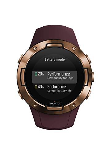 Suunto 5 Unisex Adult GPS Multisport Watch, Mineral Glass, Stainless Steel, Silicone, Burgundy, SS050301000