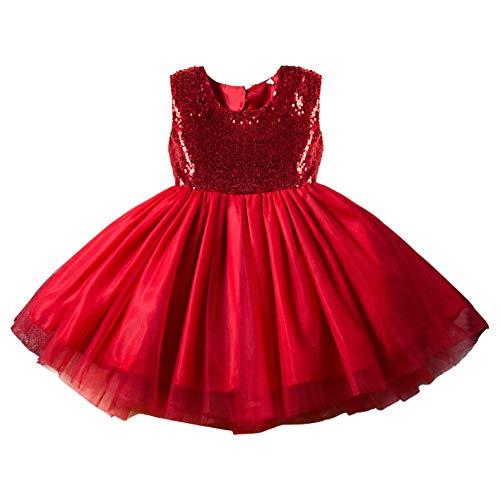 ダンス キッズ スパンコール ドレス ワンピース TRTRO クリスマス 衣装 サンタ コスプレ コスチューム 子供用 ガールズ (レッド/B, 120)