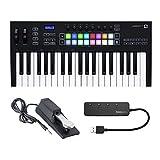 Novation Launchkey 37 MK3 37-Key MIDI Keyboard Bundle with Sustain Pedal and Knox Gear 4-Port USB...