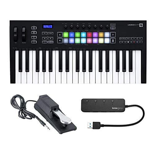 Novation Launchkey 37 (MK3) 37-Key MIDI Keyboard Bundle with Sustain Pedal and Knox Gear 4-Port USB 3.0 Hub (3 Items)