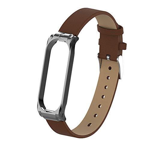 Hangrui Leder Uhrenarmband für Xiaomi Mi Band 4, Ersatz PU-Leder Armband Bracelet Schlankes Atmungsaktives Ersatzarmband mit Metallschnalle Smart Armbanduhr Armband für Mi Band 4 (Braun)