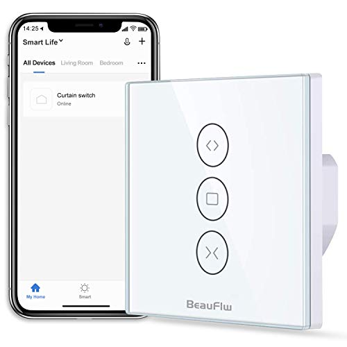 [2020 NEW Generation] BeauFlw WIFI Smart Rolladen Jalousie Zeitschaltuhr Schalter Rolladenzeitschaltuhr Timer für Rolladenmotor Kompatibel mit Google Home und Alexa Echo (Rolladen Touchscreen)