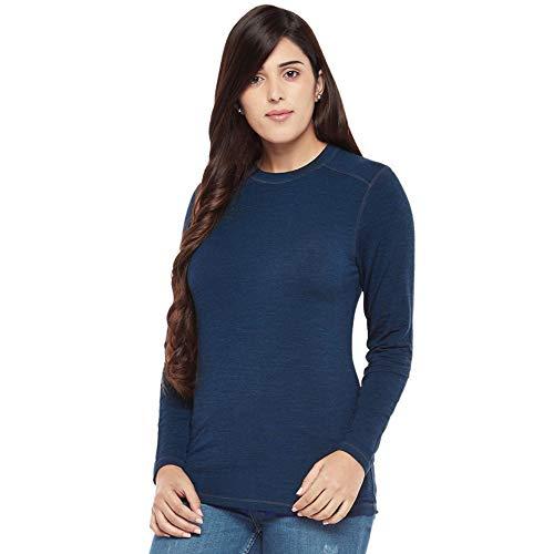 Kosha Women's Merino Wool & Bamboo Full Sleeve Thermal Top (Blue,34)