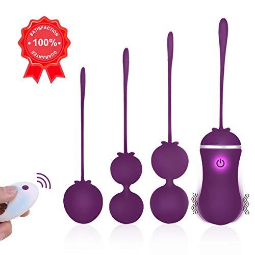 Fovel Bolas Chinas Remoto Control 4 Kegel Ball Masajeador Portátil para Mujer 10 Modos de vibración Ejercicios del Piso pélvico Control de la vejiga 5 Piezas para Principiantes y avanzados
