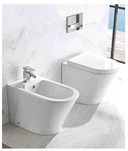 NONAME Vaso a Terra in Ceramica con coprivaso Soft Close Bianco Modello oasy
