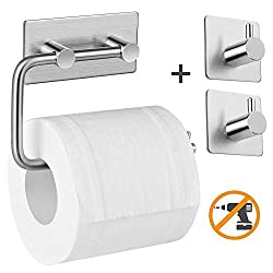 Aikzik Toilettenpapierhaltermit 2 Handtuchhaken Selbstklebend Edelstahl Klopapierhalter Wc Halter Rollenhalter Klorollenhalter Papierhalter für Küche und Badzimmer