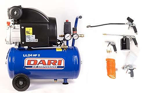 Comporador de aire marca Dari LT.24 8 bar 2 HP modelo Smart 24/210 col. Kit de 8 piezas lubricadas con aceite – Compresores