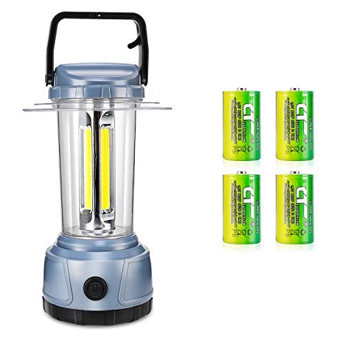 DOZAWA LED Camping Lantern Battery Powered 2000 Lumen COB Camping Light 4D Batteries(Included) Perfect for Hurricane, Camping, Emergency Kit,Grey