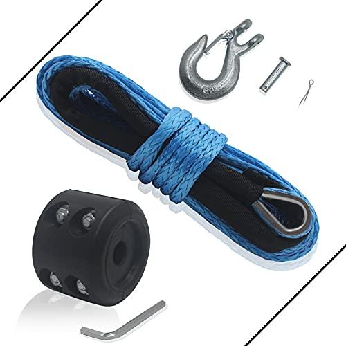 Cuerda de cabrestante sintética de TYT, 3/16 x 50 pies, cuerda de cable para cuerda de cabrestante para 7700 lb de fuerza con funda protectora de goma y grillete de goma, resistente a los rayos UV, cuerda de nailon para cabrestante UTV ATV cuerda sintética (azul)