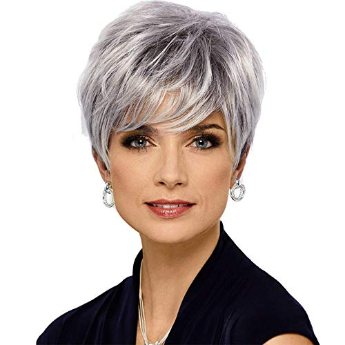 HAIRCUBE Pixie Cut Human Hair Wigs for Women Pretty Short Gray Wigs for White Women(wm3005)