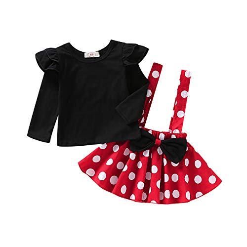 T TALENTBABY Vestido de Tirantes para bebés, bebés y niños pequeños, 2 Piezas, Conjuntos de Manga Larga/Corta, Volantes, Overoles, Falda a Cuadros, Conjunto de Ropa