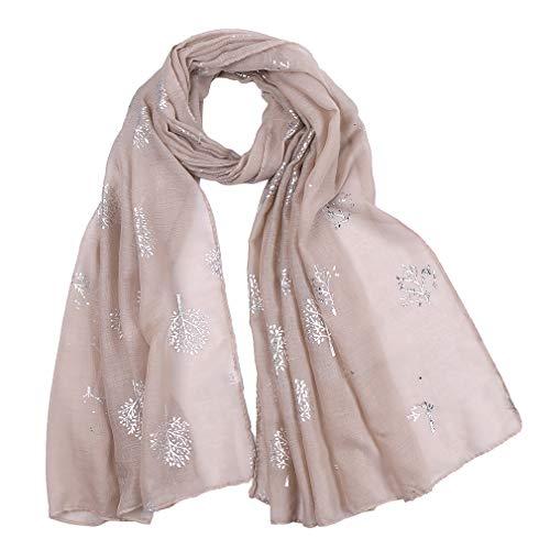 KAVINGKALY Silberfolie Mulberry Tree Print Fashion Schal (Khaki)