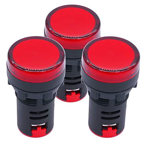 Baomain 22mm LED Indicator Pilot Light AD16-22D 110V 20mA Energy Saving Red 2 Pack