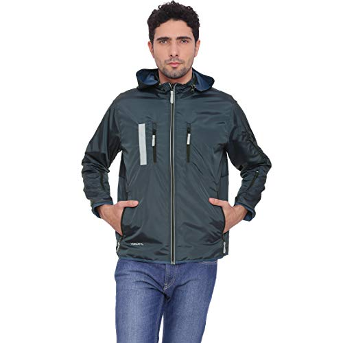 VERSATYL Men's Travel Jacket with 18 Pockets and 29 Features (Small, Navy and Aqua Blue)