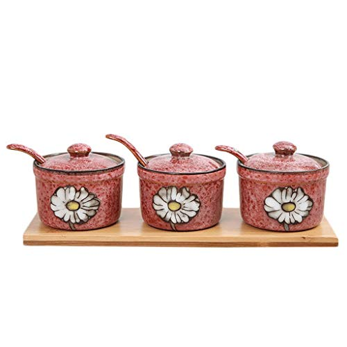XXDTG Set Of 3 Flower Embossed Ceramic Food Storage Porcelain Condiment Container Spice Jar With Lids Ceramic Serving Spoon And Wooden Tray (Color : A)