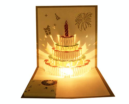 Recordable Birthday Card Musical Birthday Card Pop Up Birthday Card LED Light Birthday Card