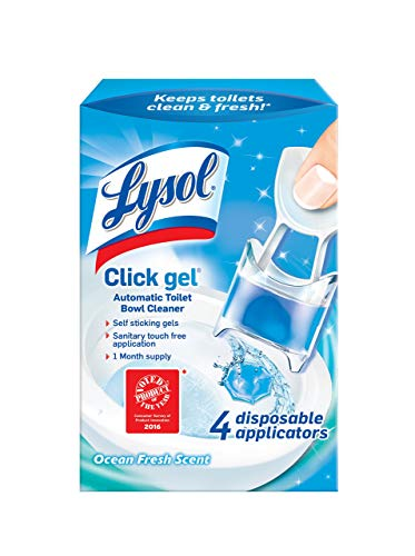 Lysol Click Gel, Continuous Cleaning Toilet Bowl Cleaner, Spring Waterfall, 4 Count
