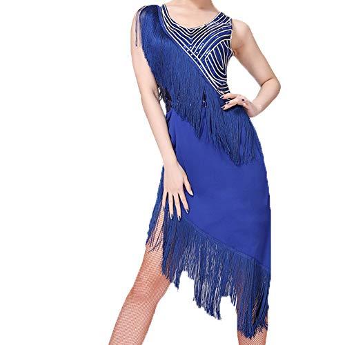 LONMEI Disfraces De Baile Latino para Mujer - Sin Mangas con Flecos De Las Lentejuelas De Baile Latino Tango Salsa Rumba Ropa Vestido, Azul/XL