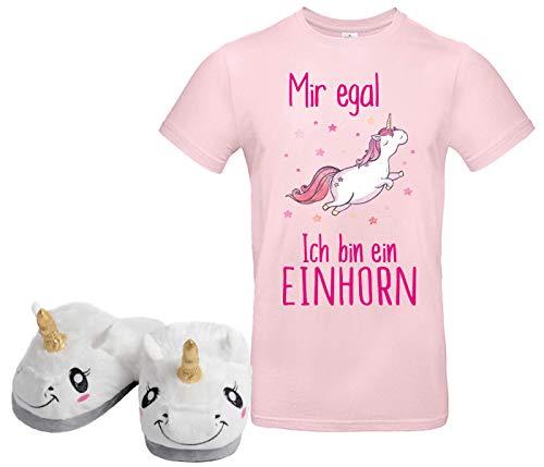 Einhorn Set T Shirt mit 1 Paar Hausschuhe Unicorn Pantoffeln Geschenkidee Mädchen Damen T-Shirt Puschen Weihnachten Nikolaus (M) 38/39