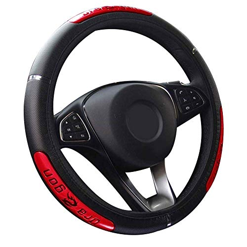 YESBAY Yihanshop Steering Wheel Cover, 38cm Fashion Dragon Design Faux Leather Car Steering Wheel Cover Interior Decor Red