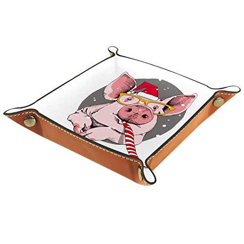 XiangHeFu Bandeja de Cuero Retrato del Cerdo Rosa en un Gorro Rojo de Santa Almacenamiento Bandeja Organizador Bandeja de Almacenamiento Multifunción de Piel para Relojes,Llaves,Teléfono,Monedas