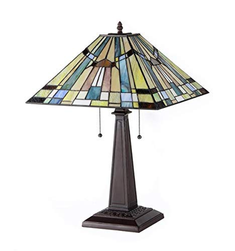 """Chloe Lighting CH33293MS16-TL2 """"KINSEY"""" Tiffany-Style Mission 2 Light Table Lamp 16-Inch Shade"""