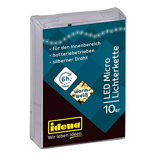 Idena 31114 LED Micro Lichterkette mit 10 LED in warm weiß, mit 6 Stunden Timer Funktion, Batterie betrieben, für Partys, Weihnachten, Deko, Hochzeit, als Stimmungslicht, ca. 1,2 m