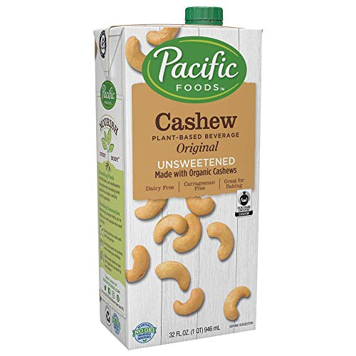 Pacific Foods Fair Trade Cashew Milk Made With Organic Cashew Unsweetened, 32 oz, (Pack of 6) Keto Friendly