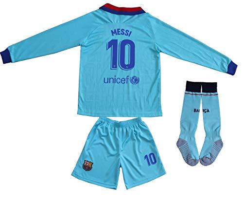 2019/2020 Lionel Messi #10 Third Lange Ärmel Kinder Fußball Trikot Hose und Socken Kindergrößen (Third, 24 (6-8 Jahre))
