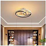 LAITONG Ceiling Fan with LED Light Remote Control, 20'' Modern Invisible Fan Round Recessed Ceiling Fan Light,3 Color Dimmable 50W 110V 3 Speed Timer Hidden Electric Fan,for Kids Room Kitchen,5321.