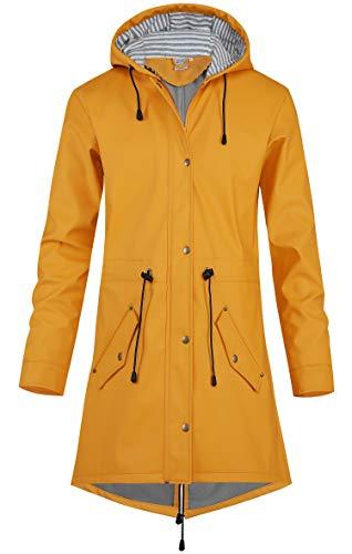 SWAMPLAND Damen PU Regenjacke Mit Kapuze Wasserdicht Übergangsjacke Regenmantel, Gelb mit Fleece, Gr.- 42 EU/ Large