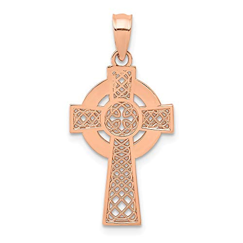 14k Rose Gold Irish Claddagh Celtic Knot Cross Religious Pendant Charm Necklace Iona Fine Jewelry For Women Gifts For Her