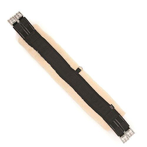 Elastischer Sattelgurt mit Kunstfell Shire schwarz/beige 125cm