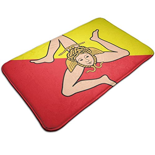 Unbekannt Sizilianische Flagge Türmatte rutschfeste Badematte Badezimmer Küche Boden Teppich Matte 40x60cm