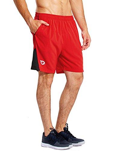 """BALEAF Men's 7"""" Running Shorts with Mesh Liner Zipper Pocket for Athletic Workout Gym Red Large"""