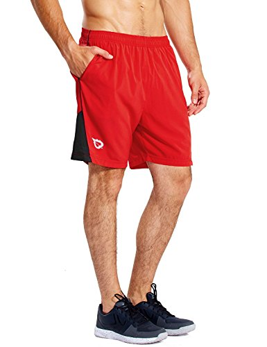 BALEAF Men's 7'' Athletic Running Shorts Quick Dry Mesh Liner Zip Pocket Red Size L Tall