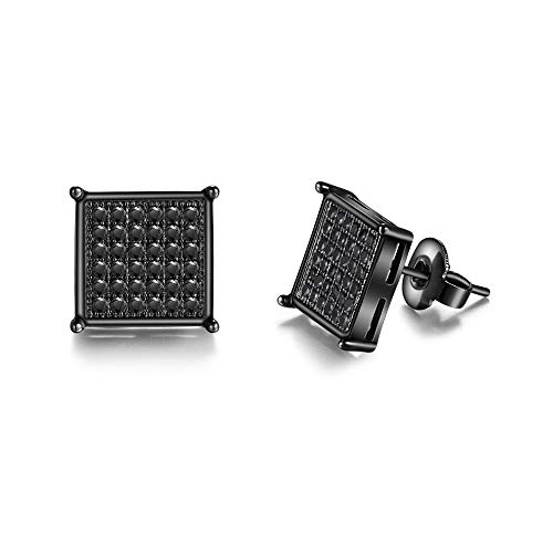 Mens Square Earrings Black Stud Diamond Crystal Big 316L Surgical Stainless Steel Post for Sensitive Ear Cool Guy Jewelry Gift Men, Women Unisex 9.5mm -Tarsus