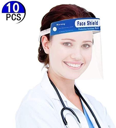 HEHE 10 Viseras Protectoras para la Cara, plástico Ligero, Ajustable, Transparente (Azul)